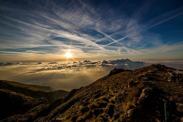 Mountains, Sun, Clouds, Peak, Summit, Sea Of Clouds