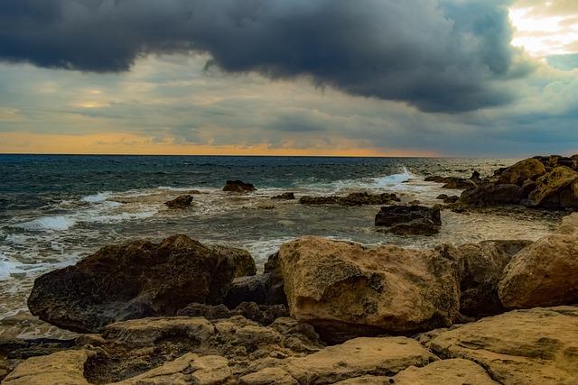 Rocky Coast, Sea, Nature, Sky, Clouds, Overcast