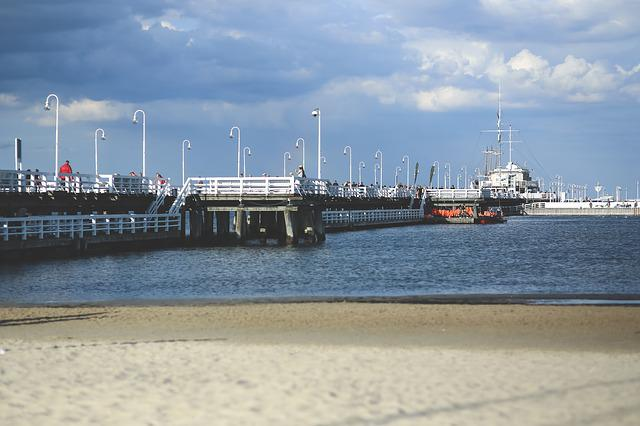 Pier, Sea, Water, Beach, Sopot, Baltic, Poland, People