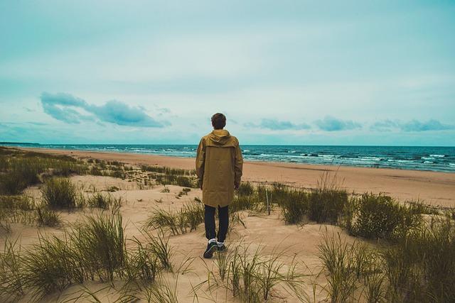 Beach, Grass, Ocean, Outdoors, Person, Sand, Sea