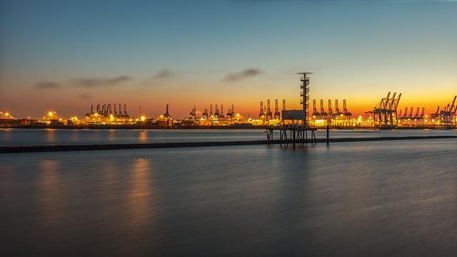 Sunset, Pier, Waters, Sea, Port, Travel, Sky