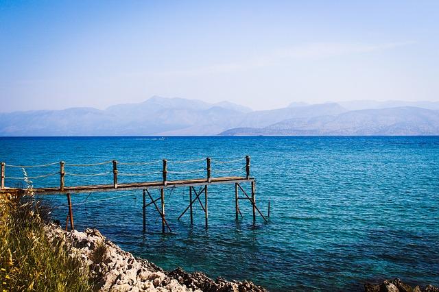 Corfu, Sea, Greece, Blue, Water, Stones, Web, Rock
