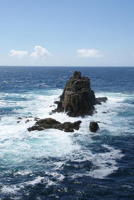 Land's End, Cornwall, Ocean, Sea, Rock, Surf, Horizon