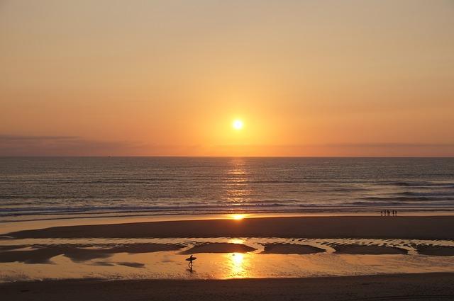 Sunset, Ocean, Sea, Biscarrosse, Atlantic, Relax, Rock