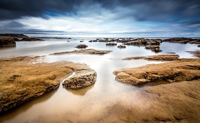 Beach, Rocks, Sea, Seascape, Horizon, Rock Formations