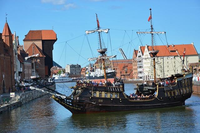 Ship, Black Pearl, Sea, Gdańsk