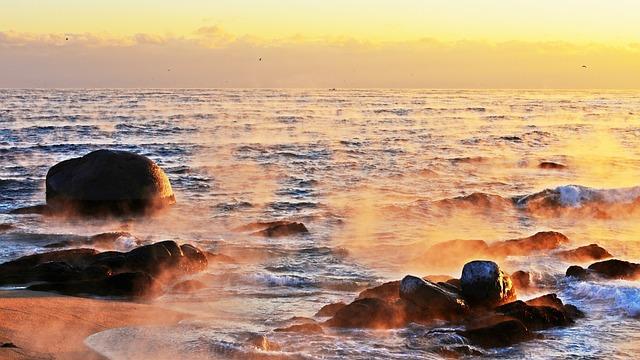 Sunrise, Dawn, Heaven, Silhouette, Sea, Nature