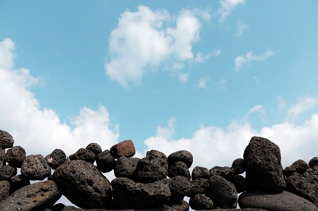 Mark, Jeju Island, Beach, Sea, Stone Wall, Sky, Cloud