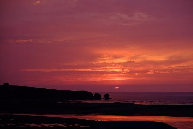 Sunset, Beach, Sky, Ocean, Sea, Romantic, Twilight