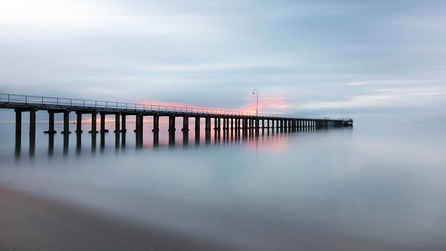 Pier, Jetty, Beach, Smooth, Sunset, Sea, Ocean, Shore
