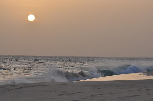 Sunset, Waves, Sea, Water, Coast, Himmel, Solar