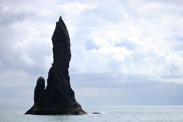 Sea Stack, Sea, Cliff, Stone, Iceland, Showers