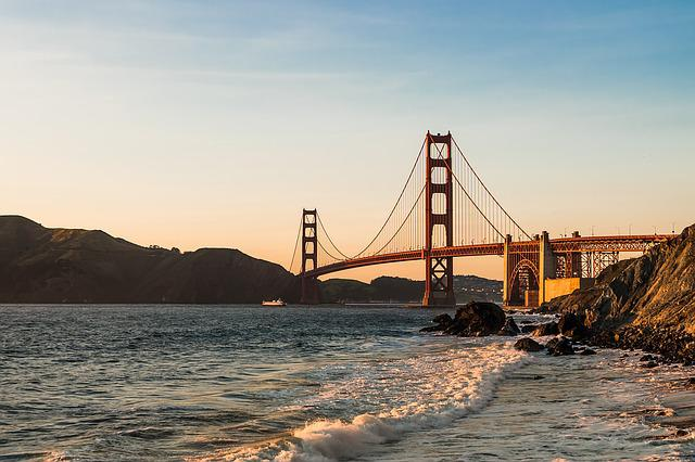 Bridge, Golden Gate, Sea, Sunset, Mountains
