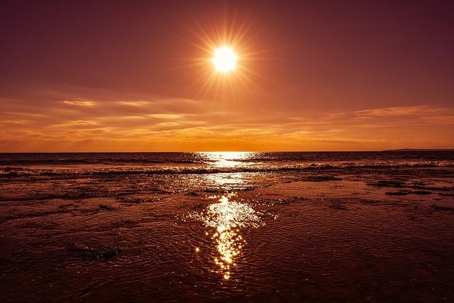 Sunset, Sun, Afternoon, Sea, Sky, Clouds, Nature