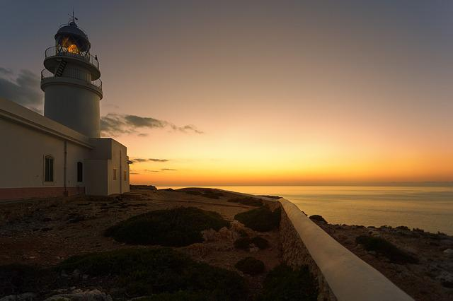 Lighthouse, Sunset, Dawn, Dusk, Sky, Lake, Sea