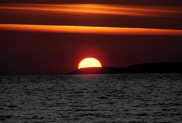 Sun, Sunset, Abendstimmung, Sea, Water, Clouds