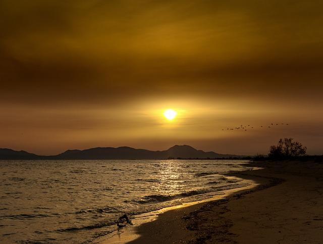 Sunset, Beach, Sea, Sky, Sun, Nature, Landscape