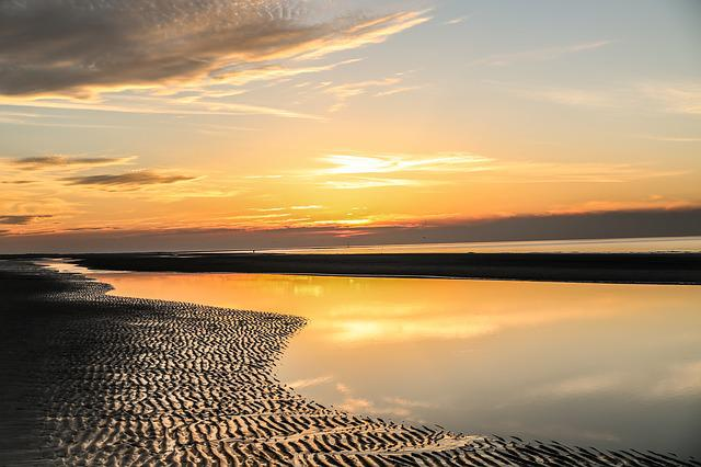 Sunset, Sea, Traces, Sand, Water, Yellow, Abendstimmung