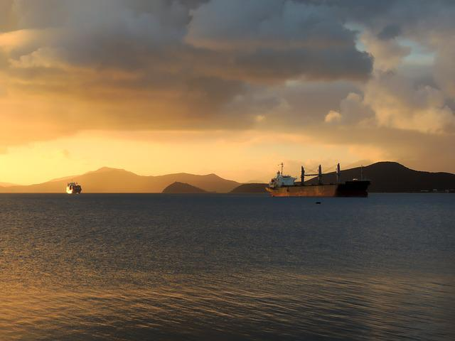 Tanker, Sea, Transport, Water, Mountains, Freight