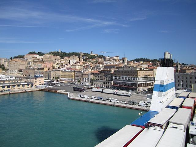 Port, Car Ferry, Sea, Travel, Vacations, Italy, Ancona