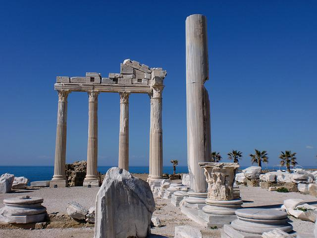 Alanya, Turkey, Side, Temple, Building, Vacations, Sea