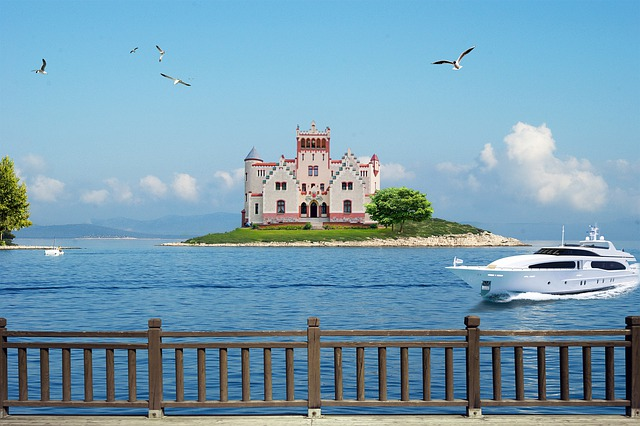 Sea, Island, Castle, Yacht, Water, Vacation, View