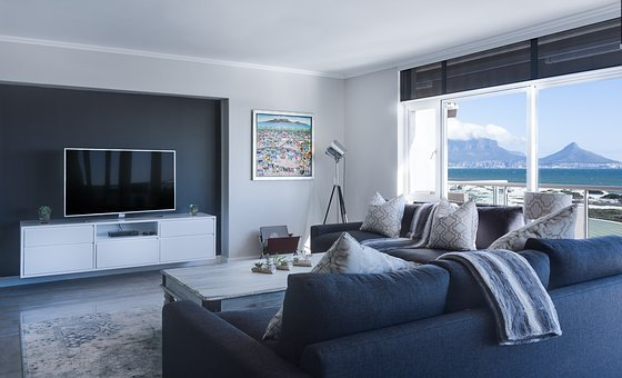 Modern Minimalist Lounge, Sea View, Window, Table Bay