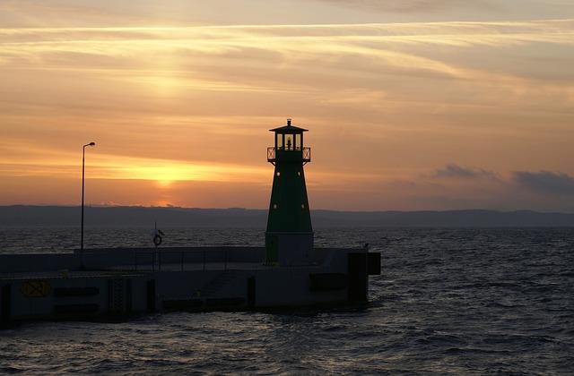 Sea, Lighthouse, Sea Wall, Navigation, Lighter, Sunset