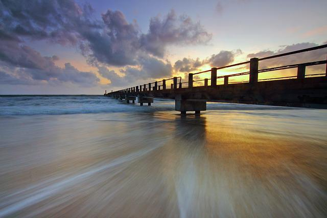 Jetty, Sea, Ocean, Water, Wave, Motion, Sunrise