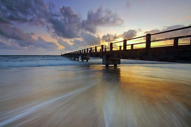 Jetty, Sea, Ocean, Water, Wave, Motion, Sunrise
