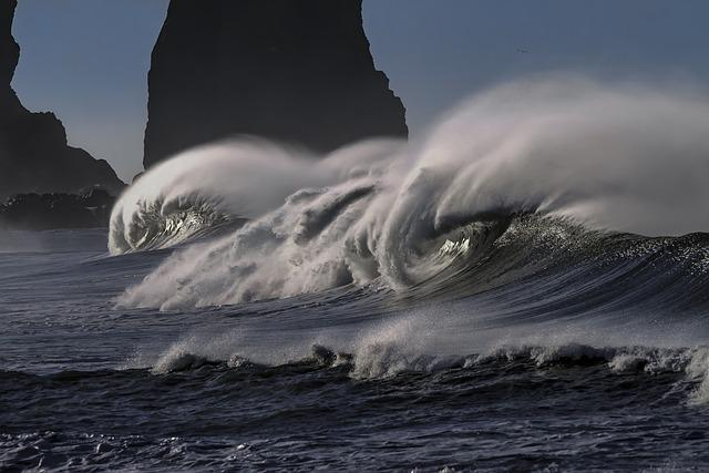 Wave, Water, Sea, Ocean, Pacific, Coastline, Seascape