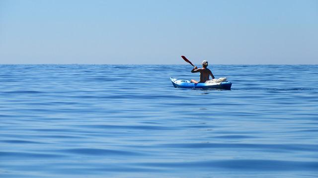 Kayak, Sea, Côte D ' Azur, Sea Kayak, Blue, Wide