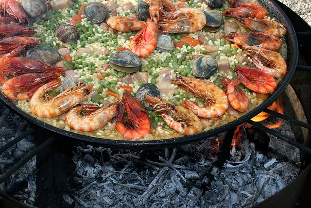 Paella, Valencia, Seafood, Prawns, Shrimp, Lena, Fire