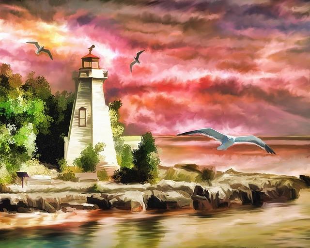 Lighthouse, Ocean, Sunset, Seagulls, Coast, Beacon