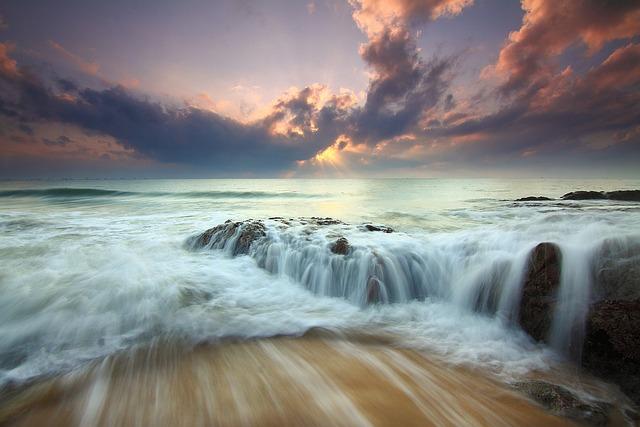 Sunrise, Dramatic, Ocean, Waves, Flow, Seascape, Water