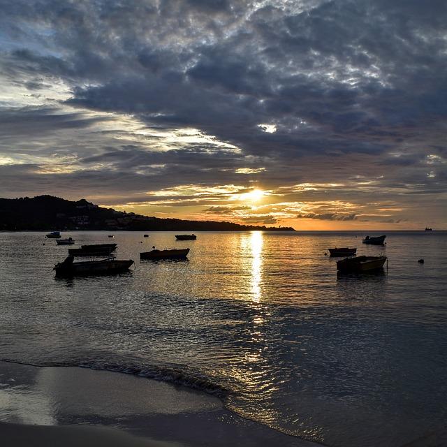 Grenada, Island, Beach, Seascape, Boats, Heavy Clouds