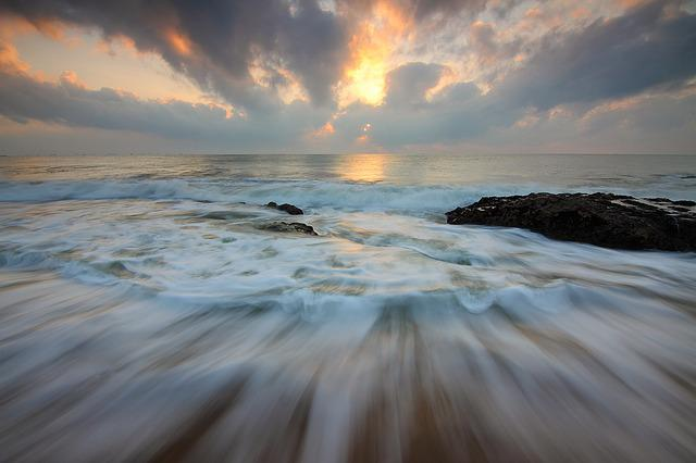 Sunrise, Motion Water, Motion, Ocean, Seascape, Clouds