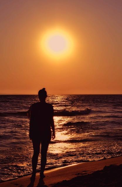 Woman Silhouette, Seaside, Seascape, Orange, Fire