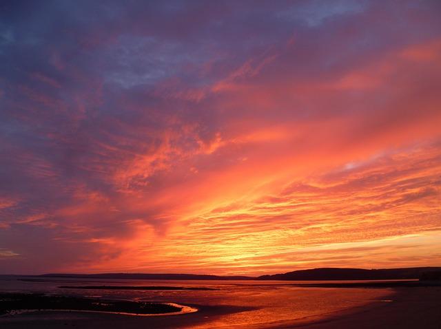 Sunset, Beach, Horizon, Sea, Ocean, Seascape, Sand