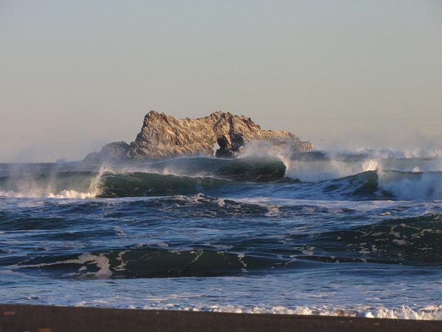 The Pacific Ocean, Rocks, Wave, Storm, Foam, Seascape
