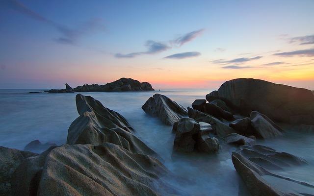 Sea, Ocean, Water, Rocks, Motion, Sunrise, Seascapes