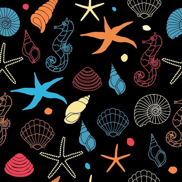 Seahorse, Starfish, Seashell, Shell, Sea Shell, Art
