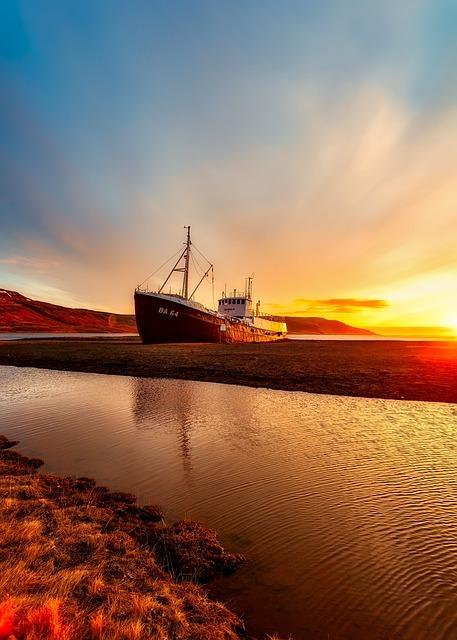 Iceland, Ship, Transportation, Sea, Ocean, Seashore