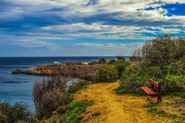 Path, Nature, Bench, Seashore, Landscape, Sky, Clouds