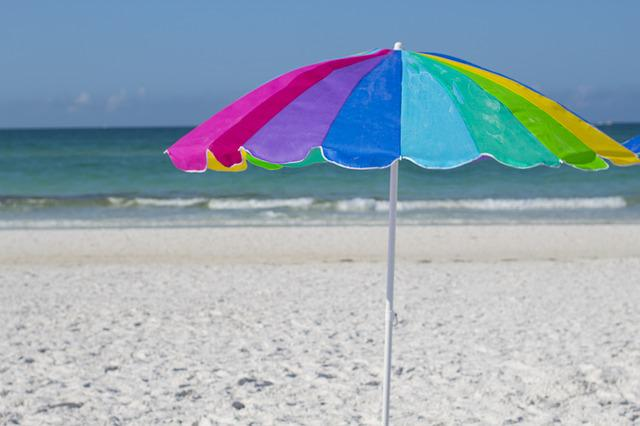 Beach, Vacation, Seaside, Ocean, Umbrella, Colorful