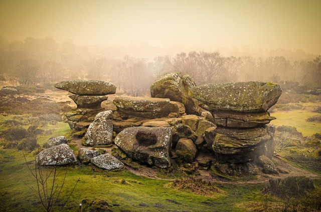 Rocks, Rock, Tree, Trees, Sky, Fog, Weather, Seasons