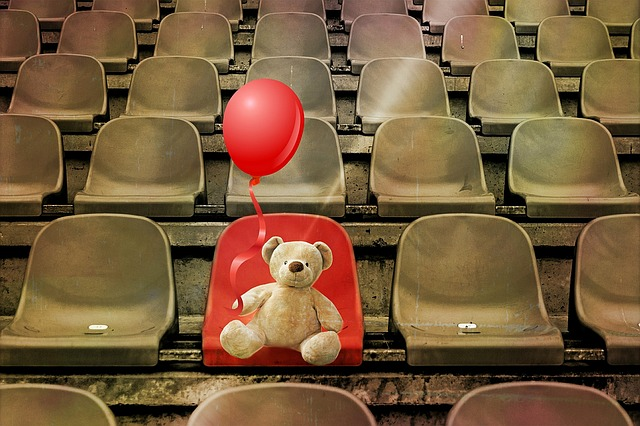 Grandstand, Stadium, Teddy Bear, Seats, Still Life