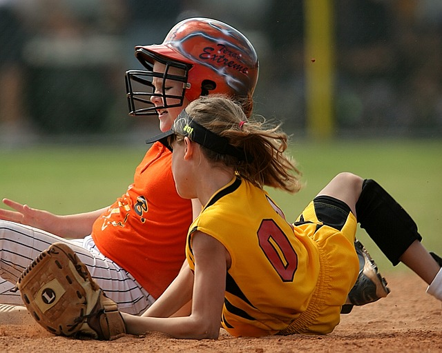 Softball, Players, Action, Female, Second Base, Sliding