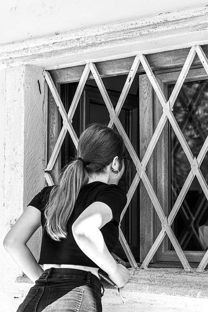 Girl, Window, Bars, Security, Peek, Look, Long Hair