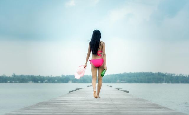 Top, Adult, Separate, Asia, Seductive, Back, Beach